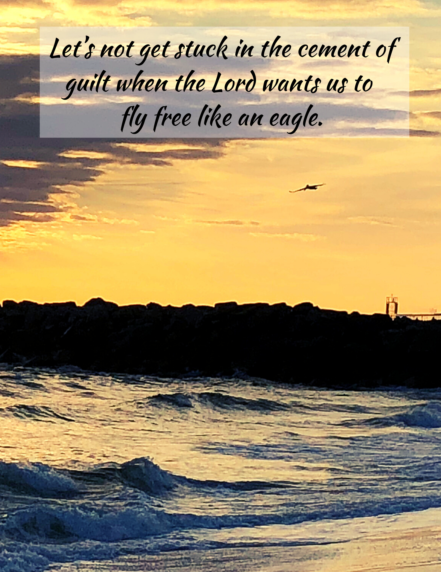 Let's not get stuck in the cement of guilt when the Lord wants us to fly free like an eagle.-4