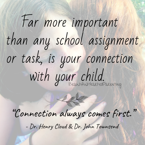 What is far more important than any homeschooling schedule or goal is your connection with your child.